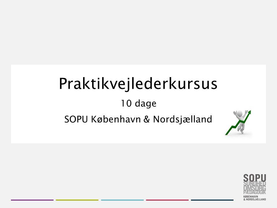 Skift farvedesign Gå til Design i Topmenuen Vælg dit farvedesign fra de seks SOPU-designs Vil du have flere farver, højreklik på farve- designet og vælg 'Applicér på valgte slides' Praktikvejlederkursus 10 dage SOPU København & Nordsjælland