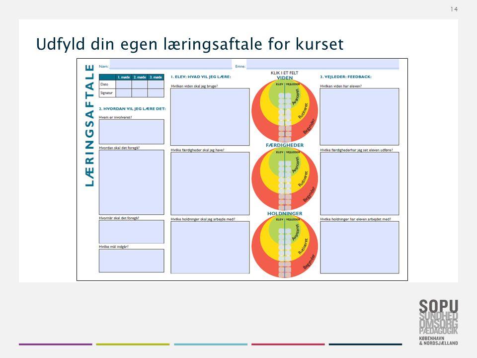 Tekstslide med bullets Brug 'Forøge / Formindske indryk' for at skifte mellem de forskellige niveauer Udfyld din egen læringsaftale for kurset 14