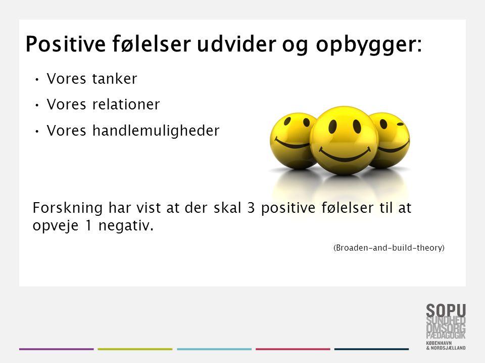 Tekstslide med bullets Brug 'Forøge / Formindske indryk' for at skifte mellem de forskellige niveauer Positive følelser udvider og opbygger: Vores tanker Vores relationer Vores handlemuligheder Forskning har vist at der skal 3 positive følelser til at opveje 1 negativ.