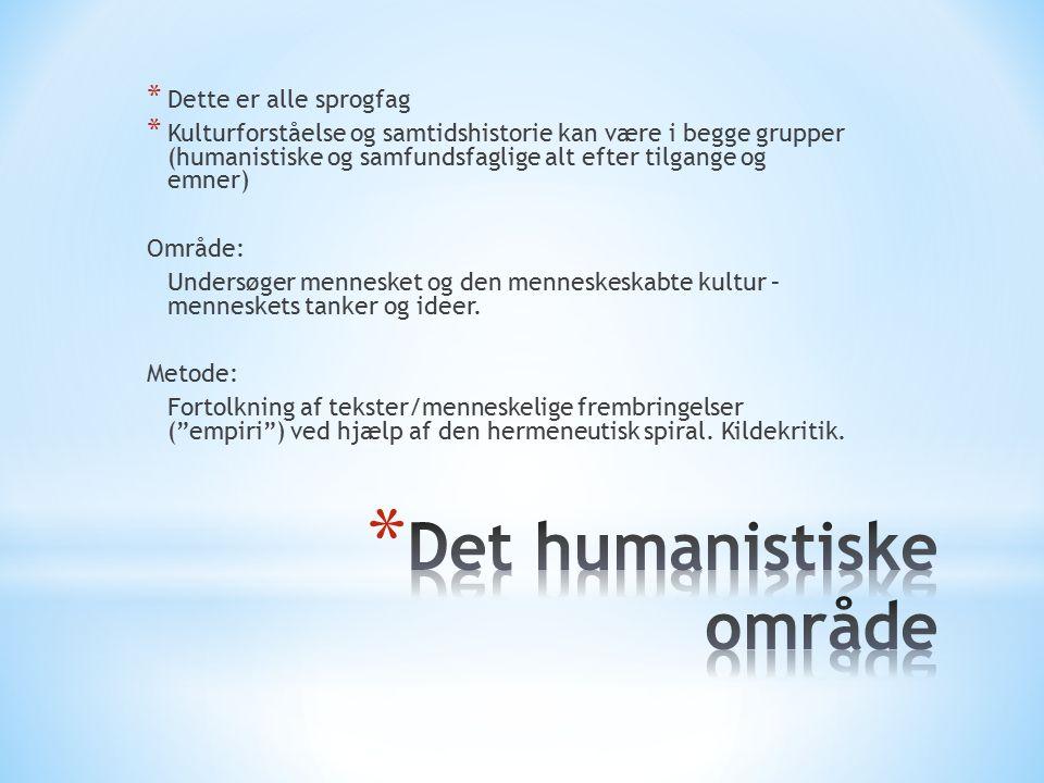 * Dette er alle sprogfag * Kulturforståelse og samtidshistorie kan være i begge grupper (humanistiske og samfundsfaglige alt efter tilgange og emner) Område: Undersøger mennesket og den menneskeskabte kultur – menneskets tanker og ideer.