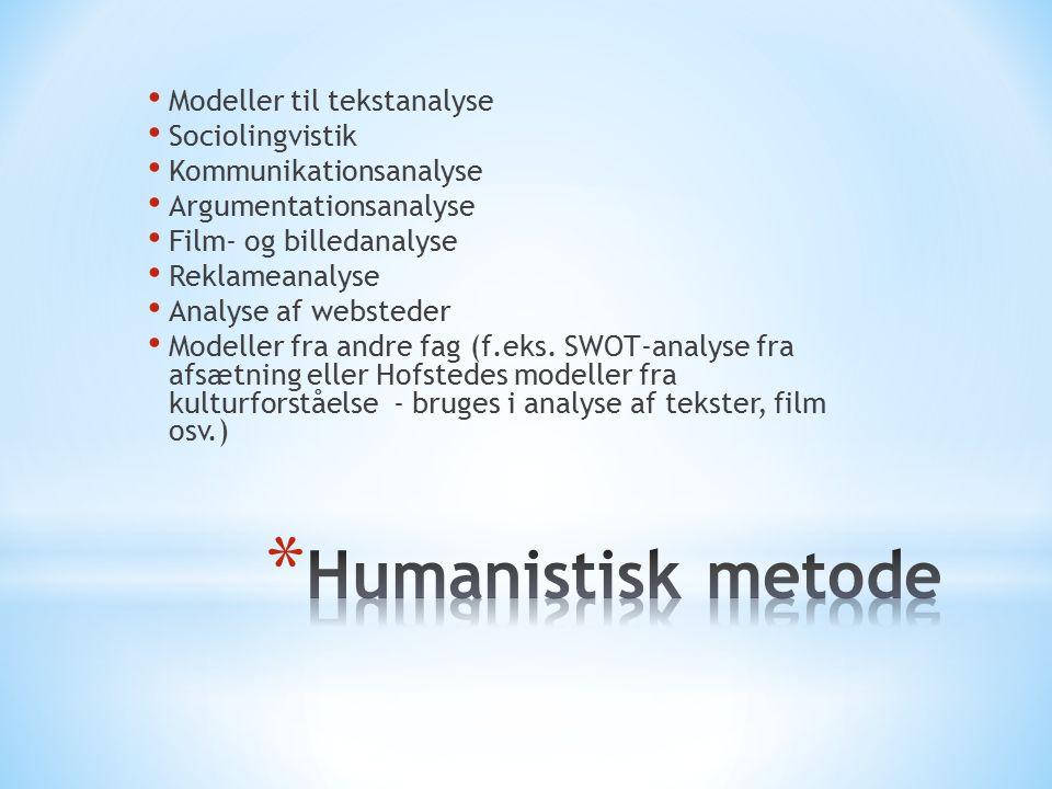 Modeller til tekstanalyse Sociolingvistik Kommunikationsanalyse Argumentationsanalyse Film- og billedanalyse Reklameanalyse Analyse af websteder Modeller fra andre fag (f.eks.