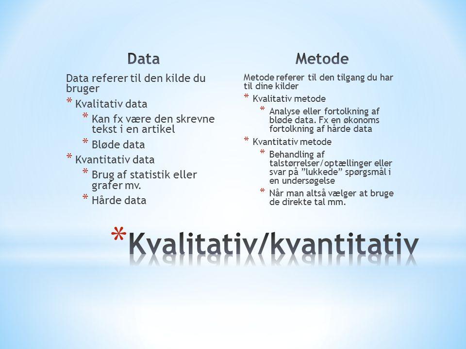 Data referer til den kilde du bruger * Kvalitativ data * Kan fx være den skrevne tekst i en artikel * Bløde data * Kvantitativ data * Brug af statistik eller grafer mv.