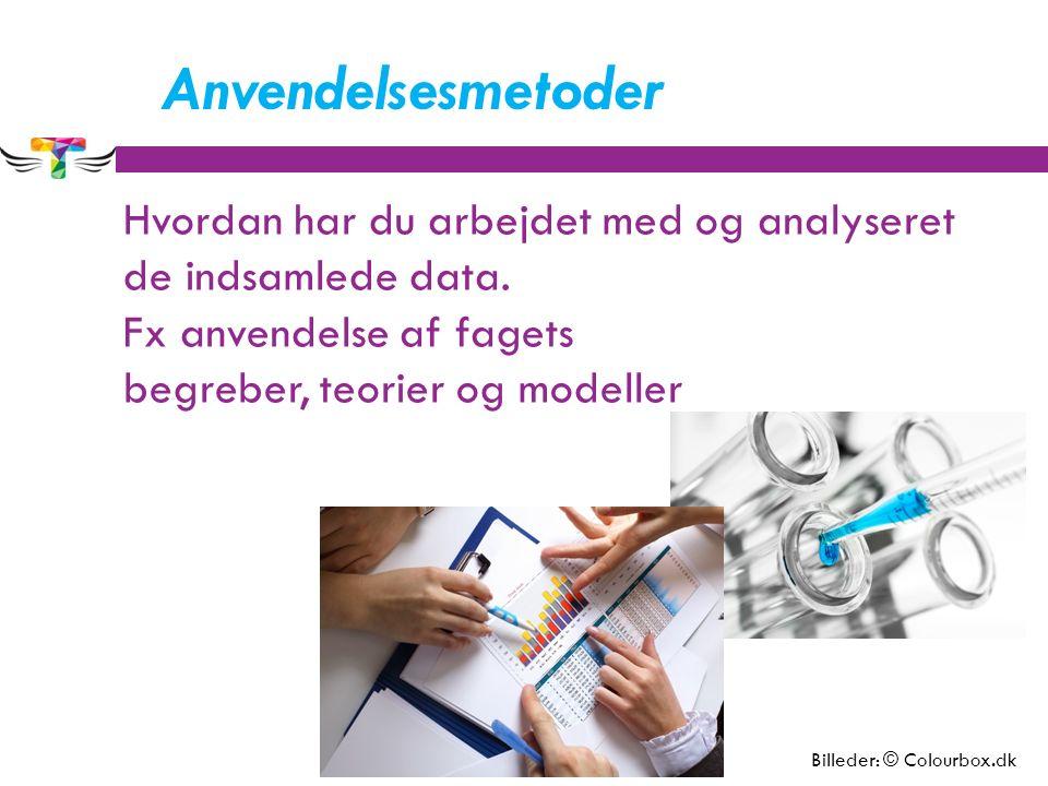 Anvendelsesmetoder Hvordan har du arbejdet med og analyseret de indsamlede data.