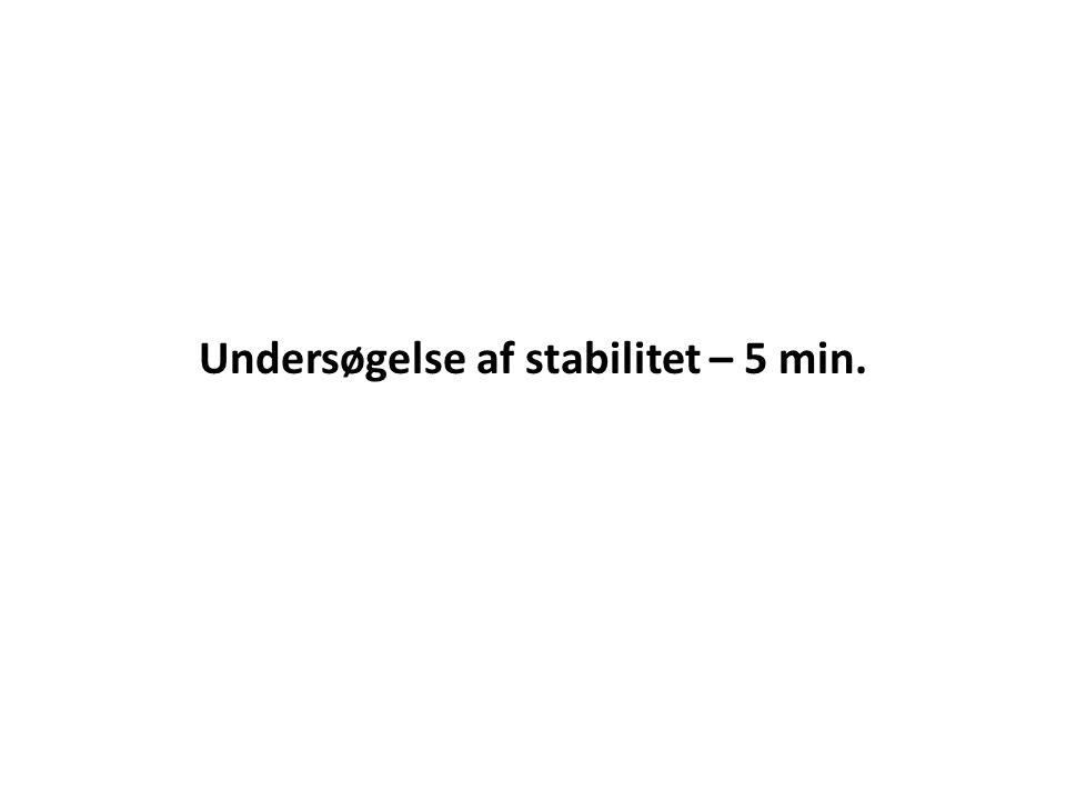 Undersøgelse af stabilitet – 5 min.