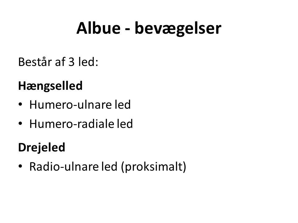 Albue - bevægelser Består af 3 led: Hængselled Humero-ulnare led Humero-radiale led Drejeled Radio-ulnare led (proksimalt)