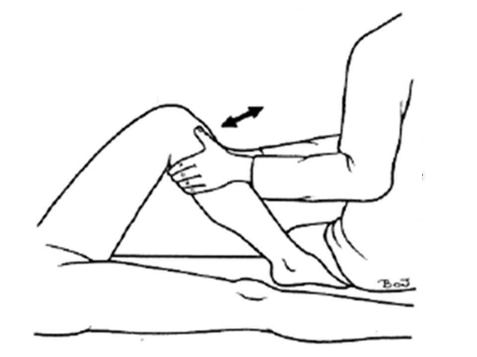Stabilitetstest Skuffeløshed – Korsbånd – Flekteres 90 ⁰ - sid på foden – Inspektion af udgangsstilling – tibia bagud.