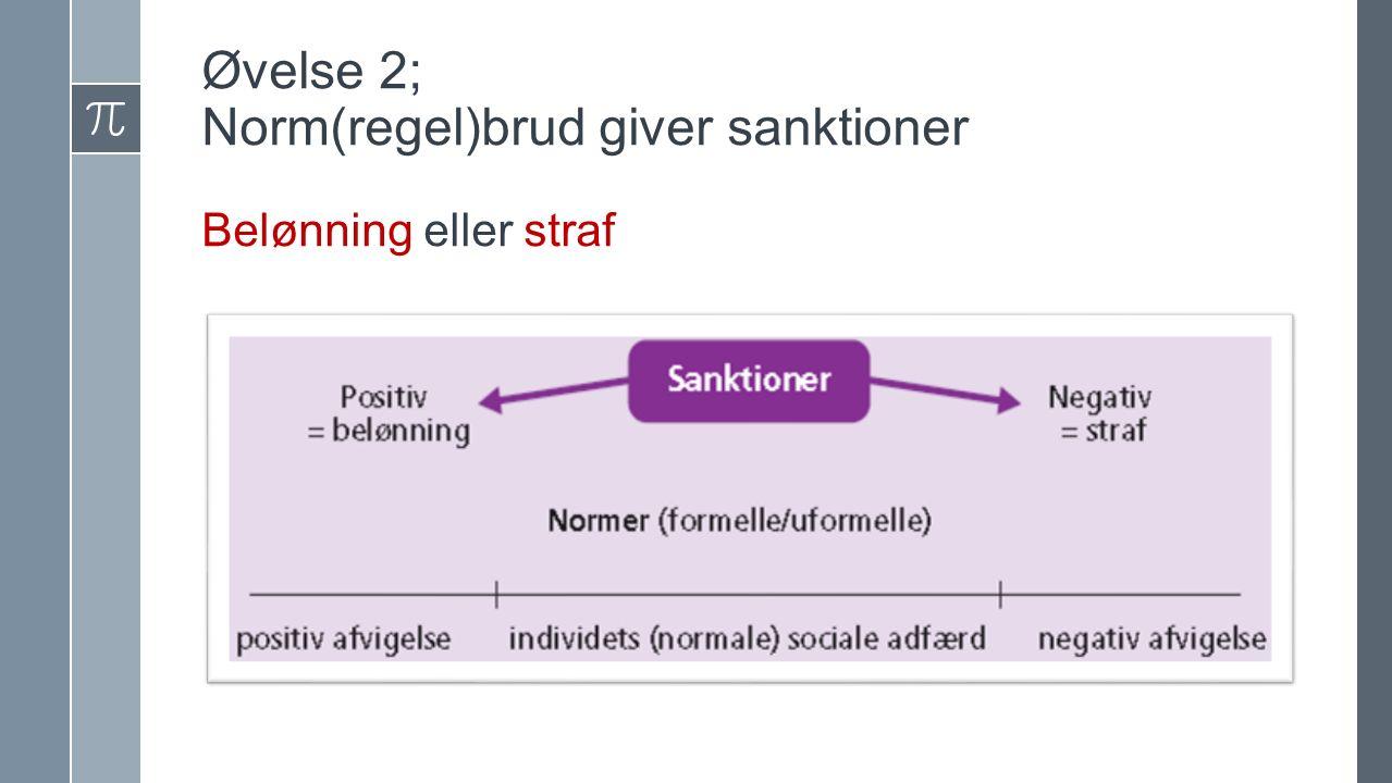 Øvelse 2; Norm(regel)brud giver sanktioner Belønning eller straf