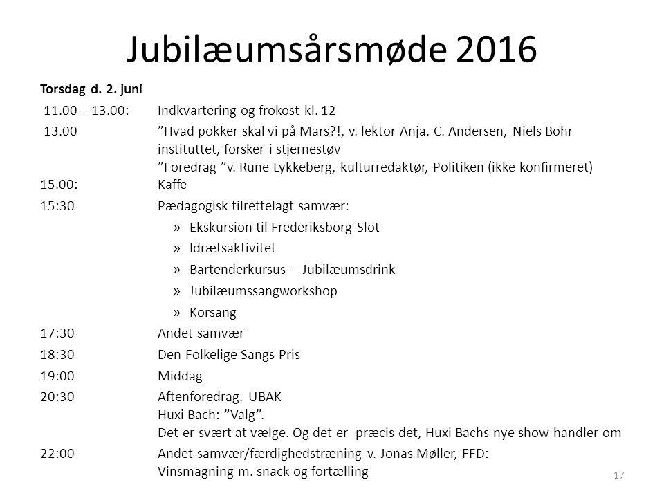 Jubilæumsårsmøde 2016 Torsdag d. 2. juni 11.00 – 13.00: Indkvartering og frokost kl.