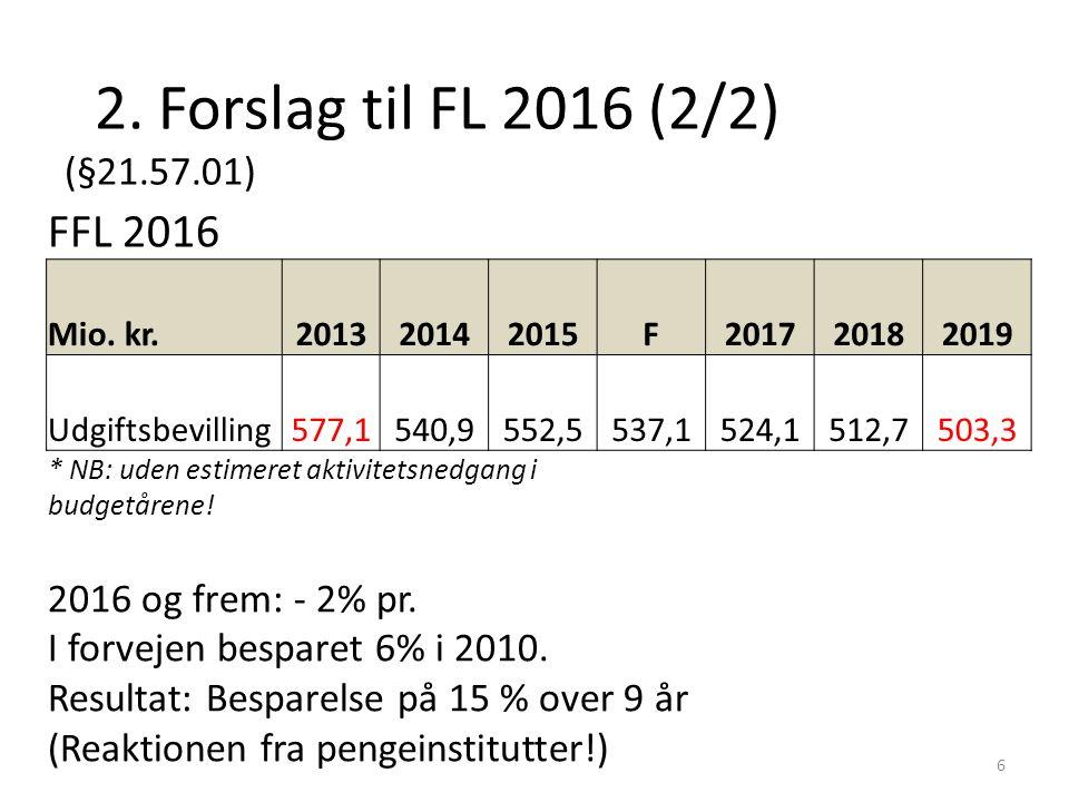 2. Forslag til FL 2016 (2/2) (§21.57.01) 6 FFL 2016 Mio.