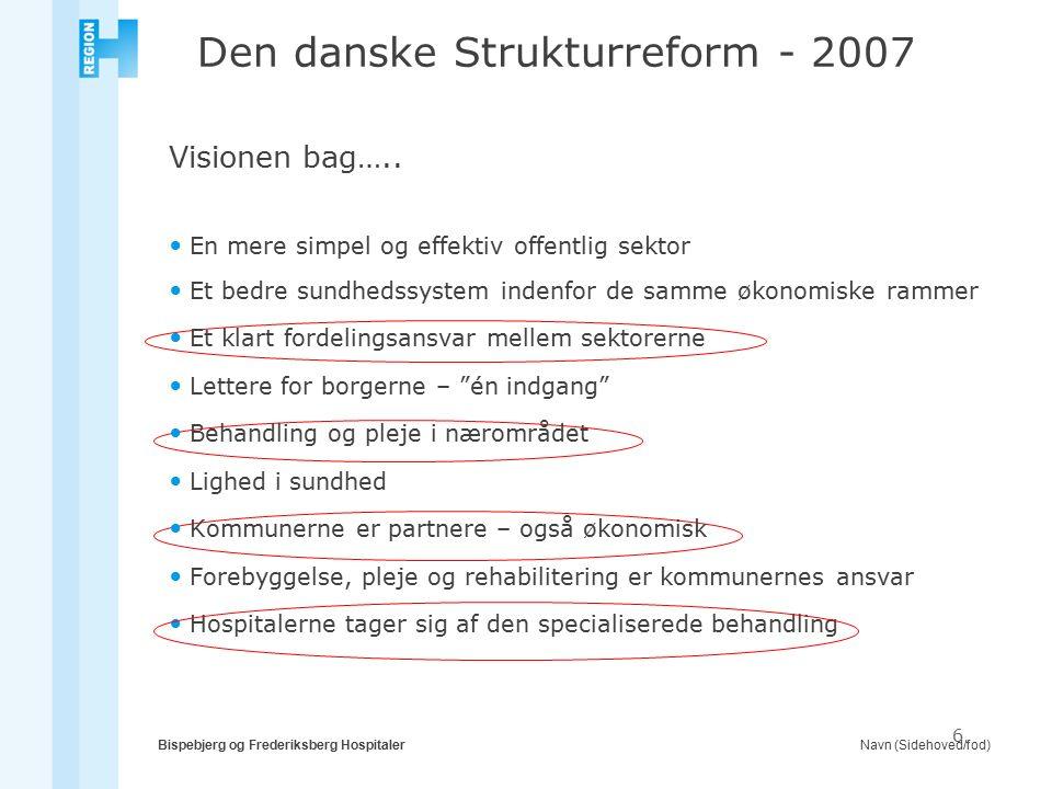 Navn (Sidehoved/fod)Bispebjerg og Frederiksberg Hospitaler 6 Den danske Strukturreform - 2007 Visionen bag…..
