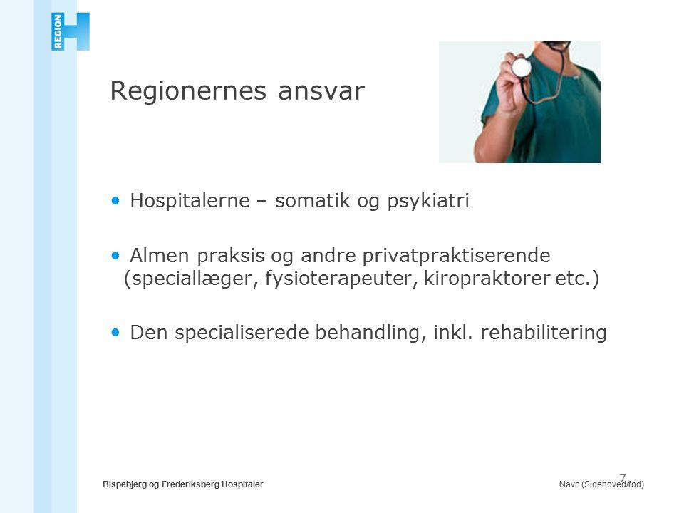 Navn (Sidehoved/fod)Bispebjerg og Frederiksberg Hospitaler 7 Regionernes ansvar Hospitalerne – somatik og psykiatri Almen praksis og andre privatpraktiserende (speciallæger, fysioterapeuter, kiropraktorer etc.) Den specialiserede behandling, inkl.