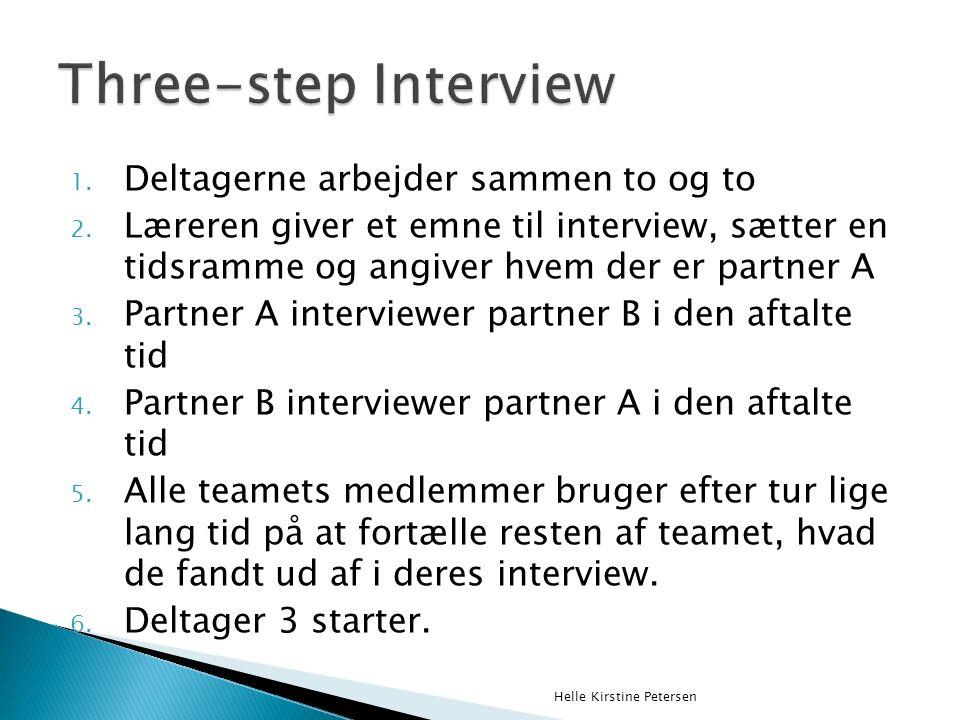 1. Deltagerne arbejder sammen to og to 2.
