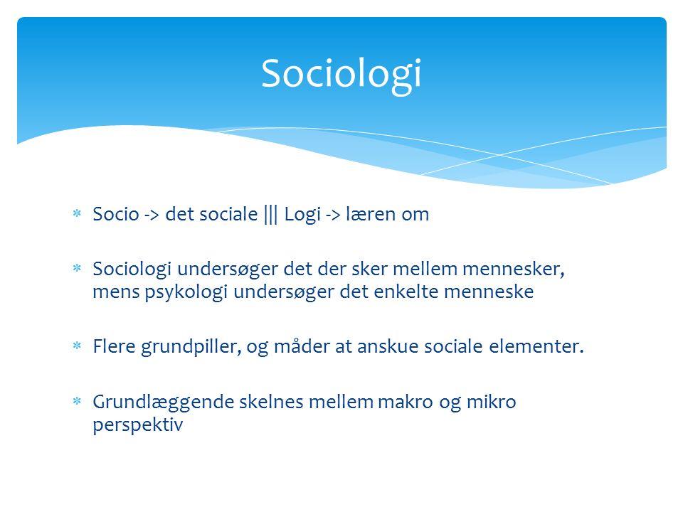  Socio -> det sociale ||| Logi -> læren om  Sociologi undersøger det der sker mellem mennesker, mens psykologi undersøger det enkelte menneske  Flere grundpiller, og måder at anskue sociale elementer.