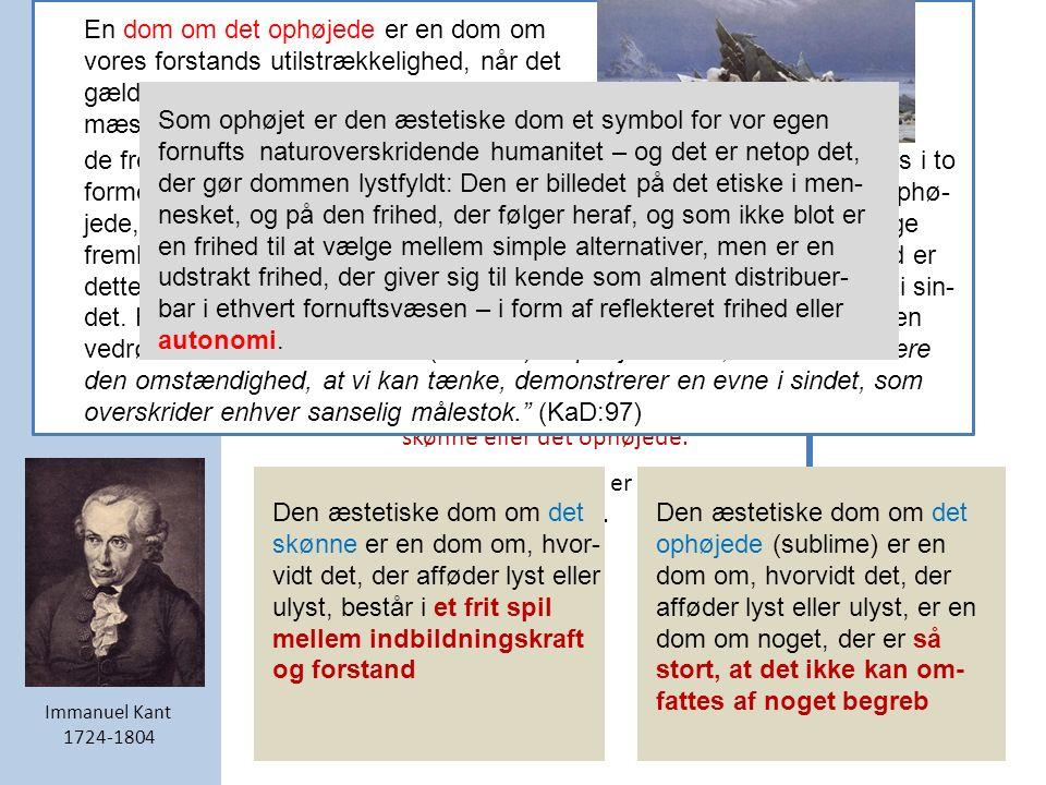 Kants æstetiske dom er karakteriseret af fem væsenstræk: 1.Den æstetiske dom er reflekterende.