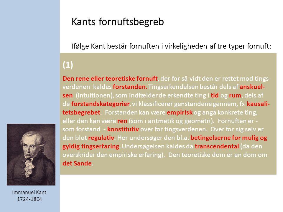 Kants fornuftsbegreb Ifølge Kant består fornuften i virkeligheden af tre typer fornuft: (1) Den rene eller teoretiske fornuft, der for så vidt den er rettet mod tings- verdenen kaldes forstanden.