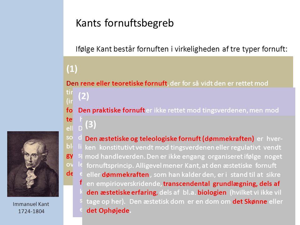 Kants fornuftsbegreb Ifølge Kant består fornuften i virkeligheden af tre typer fornuft: (1) Den rene eller teoretiske fornuft, der for så vidt den er rettet mod tingsverdenen kaldes forstanden.