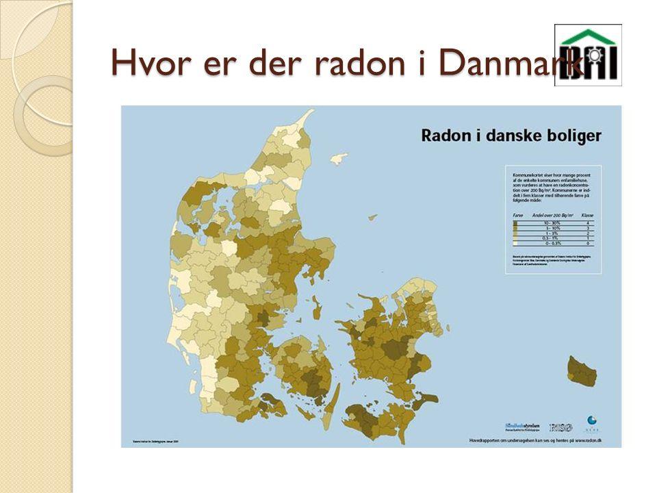 Hvor er der radon i Danmark
