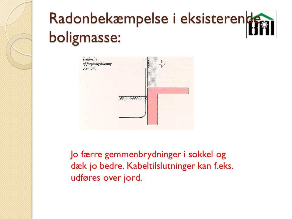 Radonbekæmpelse i eksisterende boligmasse: Jo færre gemmenbrydninger i sokkel og dæk jo bedre.