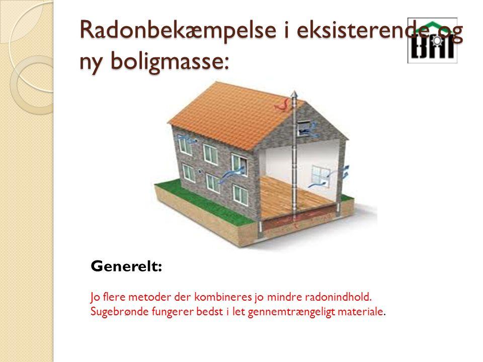 Radonbekæmpelse i eksisterende og ny boligmasse: Generelt: Jo flere metoder der kombineres jo mindre radonindhold.