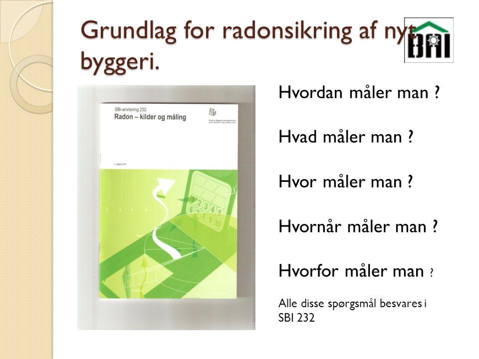 Grundlag for radonsikring af nyt byggeri. Hvordan måler man .