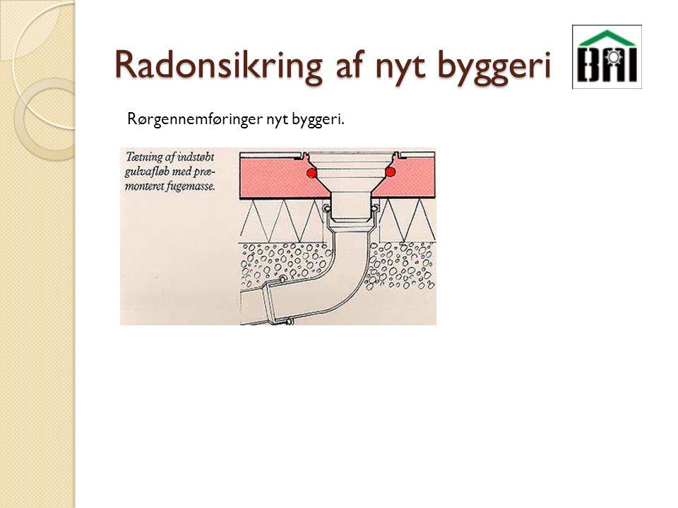 Radonsikring af nyt byggeri Rørgennemføringer nyt byggeri.