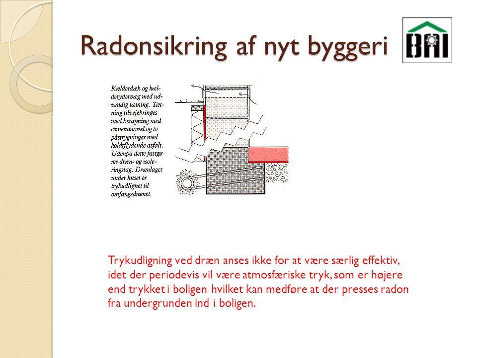 Radonsikring af nyt byggeri Trykudligning ved dræn anses ikke for at være særlig effektiv, idet der periodevis vil være atmosfæriske tryk, som er højere end trykket i boligen hvilket kan medføre at der presses radon fra undergrunden ind i boligen.
