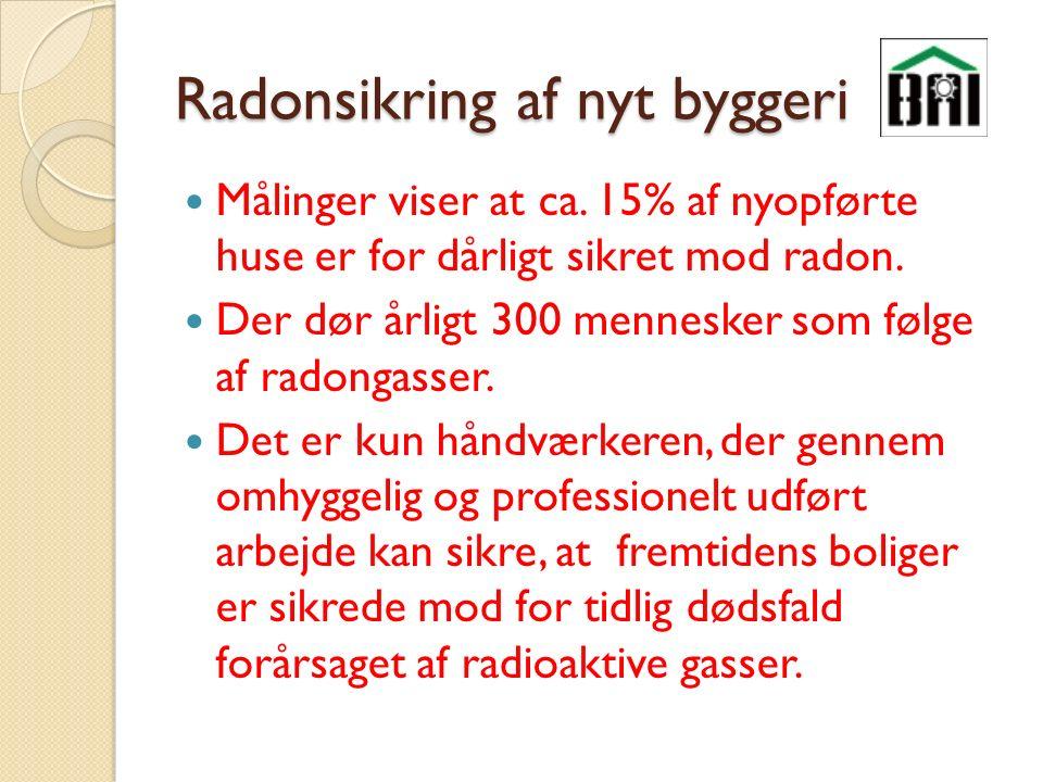 Radonsikring af nyt byggeri Målinger viser at ca.