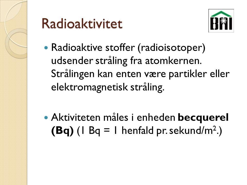 Radioaktivitet Radioaktive stoffer (radioisotoper) udsender stråling fra atomkernen.