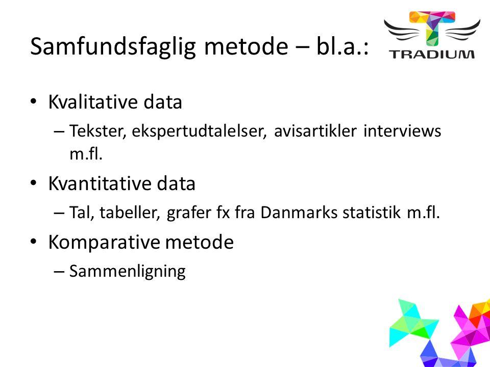Samfundsfaglig metode – bl.a.: Kvalitative data – Tekster, ekspertudtalelser, avisartikler interviews m.fl.