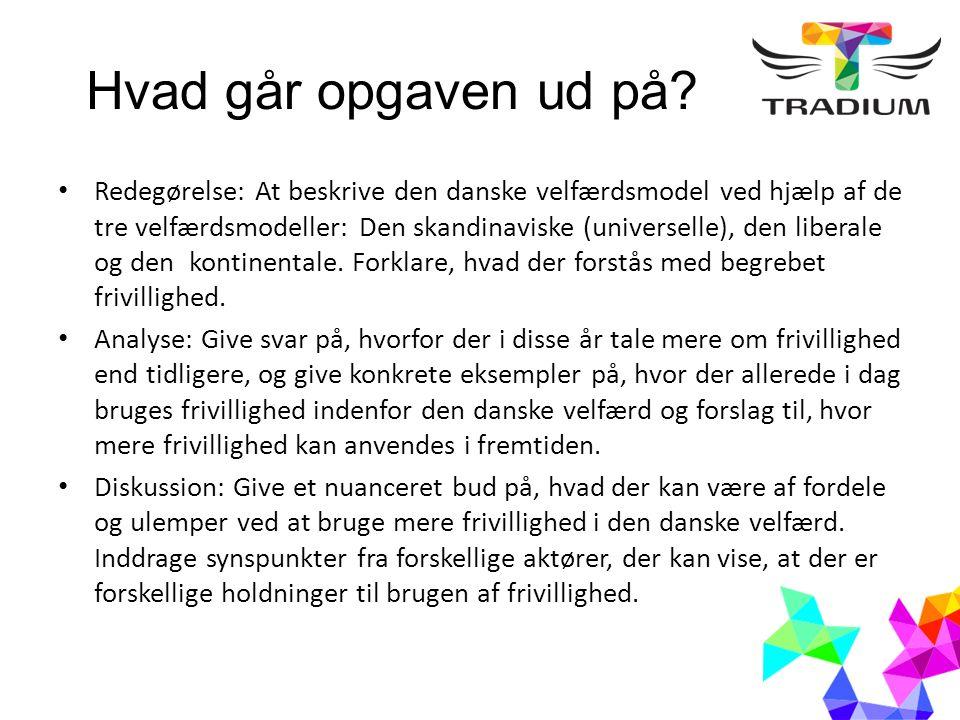 Faglige elementer Velfærdsmodeller Begrebet frivillighed Hvad udfordrer den danske velfærd (fx demografi, globalisering, individualisering osv.) Politiske partier og evt.