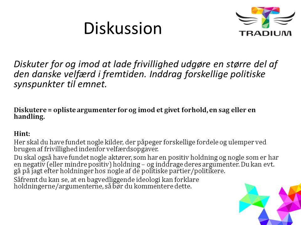 Diskussion Diskuter for og imod at lade frivillighed udgøre en større del af den danske velfærd i fremtiden.