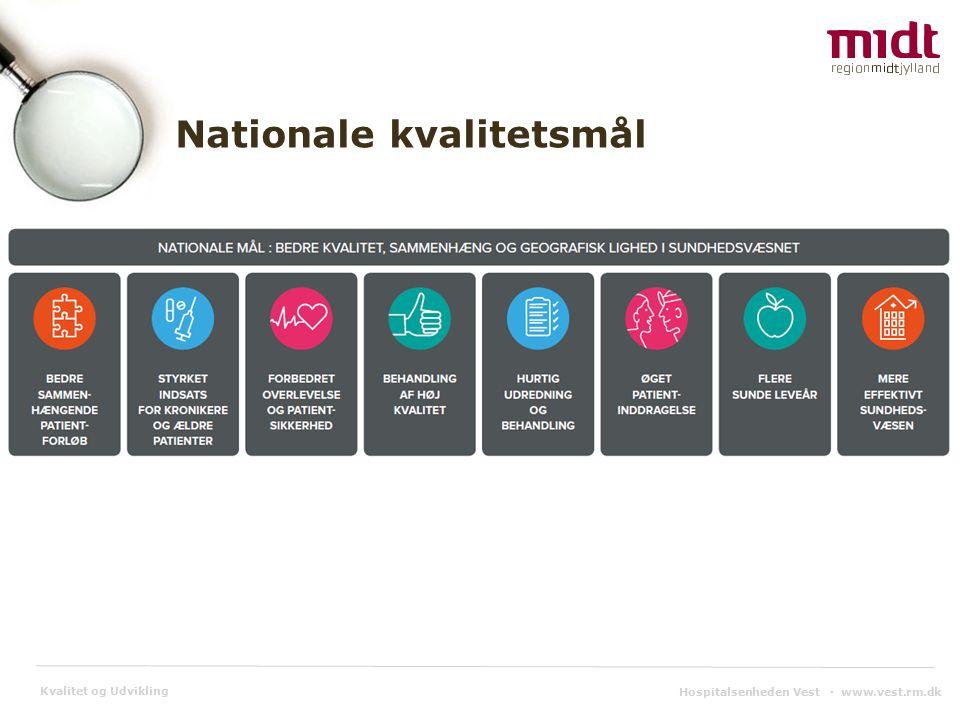 Kvalitet og Udvikling Hospitalsenheden Vest ▪ www.vest.rm.dk Nationale kvalitetsmål