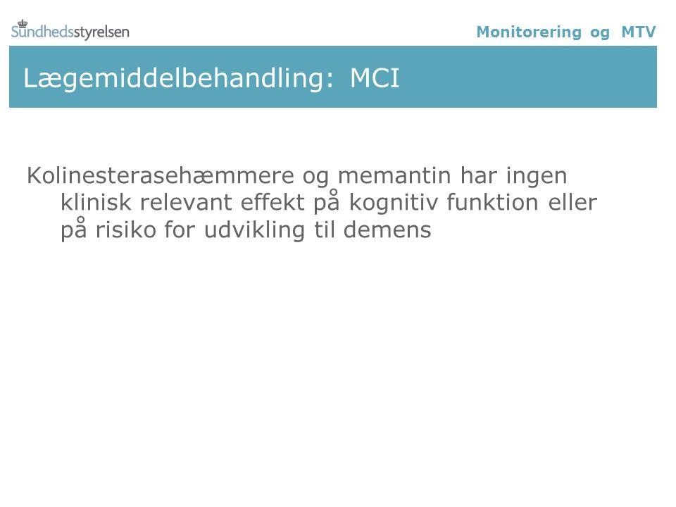 Lægemiddelbehandling: MCI Kolinesterasehæmmere og memantin har ingen klinisk relevant effekt på kognitiv funktion eller på risiko for udvikling til demens Monitorering og MTV