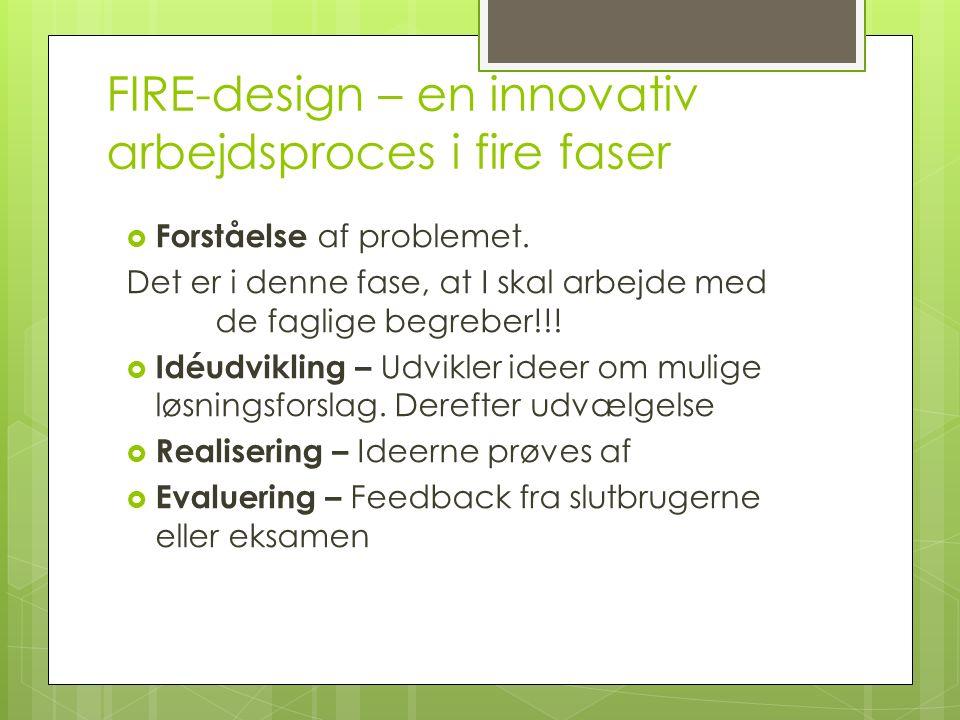 FIRE-design – en innovativ arbejdsproces i fire faser  Forståelse af problemet.