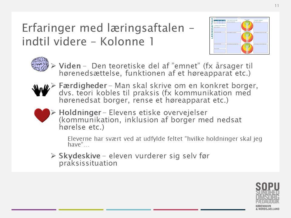 Tekstslide med bullets Brug 'Forøge / Formindske indryk' for at skifte mellem de forskellige niveauer Erfaringer med læringsaftalen – indtil videre –