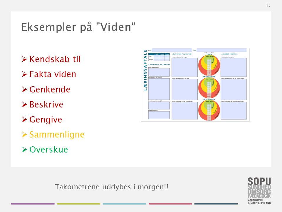 """Tekstslide med bullets Brug 'Forøge / Formindske indryk' for at skifte mellem de forskellige niveauer Eksempler på """"Viden""""  Kendskab til  Fakta vide"""