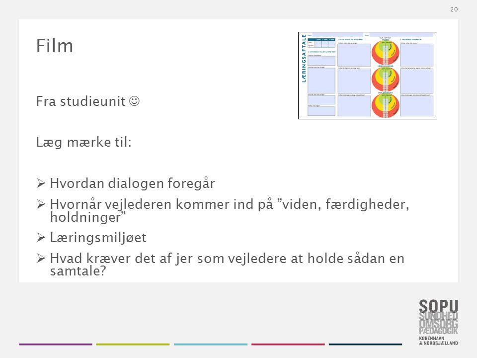 Tekstslide med bullets Brug 'Forøge / Formindske indryk' for at skifte mellem de forskellige niveauer Film Fra studieunit Læg mærke til:  Hvordan dia