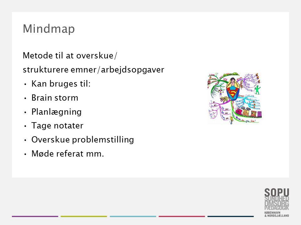 Tekstslide med bullets Brug 'Forøge / Formindske indryk' for at skifte mellem de forskellige niveauer Mindmap Metode til at overskue/ strukturere emne