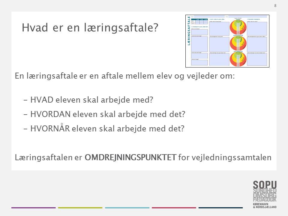 Tekstslide med bullets Brug 'Forøge / Formindske indryk' for at skifte mellem de forskellige niveauer Hvad er en læringsaftale? En læringsaftale er en