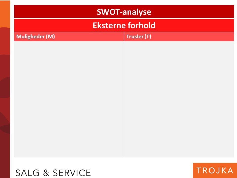 SWOT-analyse Eksterne forhold Muligheder (M)Trusler (T)