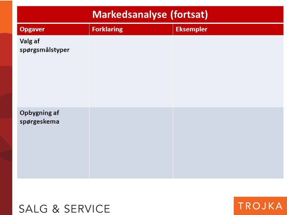 Markedsanalyse (fortsat) OpgaverForklaringEksempler Valg af spørgsmålstyper Opbygning af spørgeskema