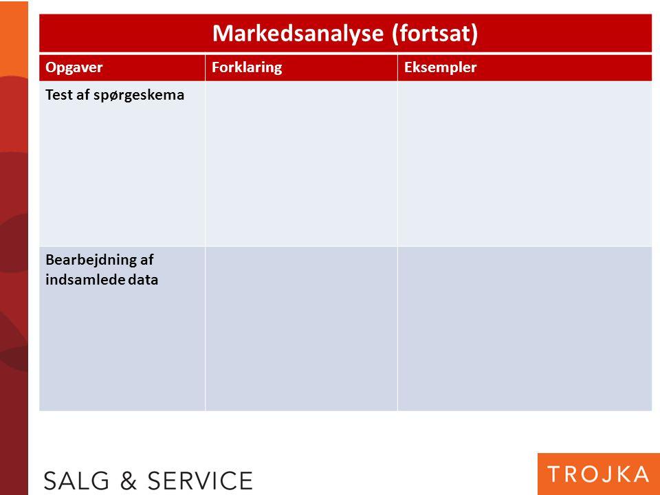 Markedsanalyse (fortsat) OpgaverForklaringEksempler Test af spørgeskema Bearbejdning af indsamlede data