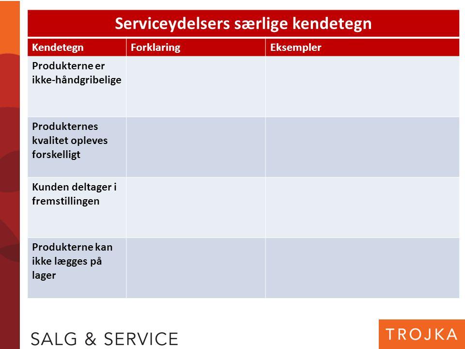 Serviceydelsers særlige kendetegn KendetegnForklaringEksempler Produkterne er ikke-håndgribelige Produkternes kvalitet opleves forskelligt Kunden delt