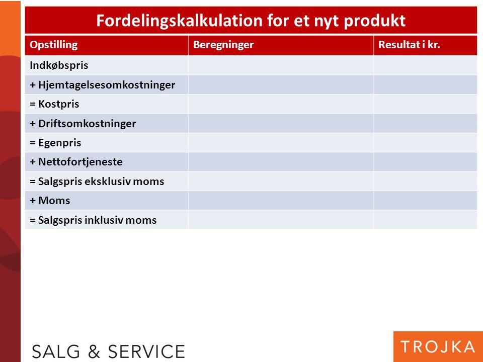 Fordelingskalkulation for et nyt produkt OpstillingBeregningerResultat i kr. Indkøbspris + Hjemtagelsesomkostninger = Kostpris + Driftsomkostninger =
