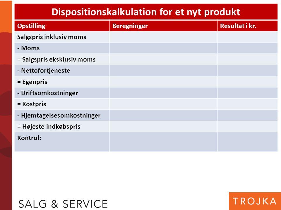 Dispositionskalkulation for et nyt produkt OpstillingBeregningerResultat i kr. Salgspris inklusiv moms - Moms = Salgspris eksklusiv moms - Nettofortje