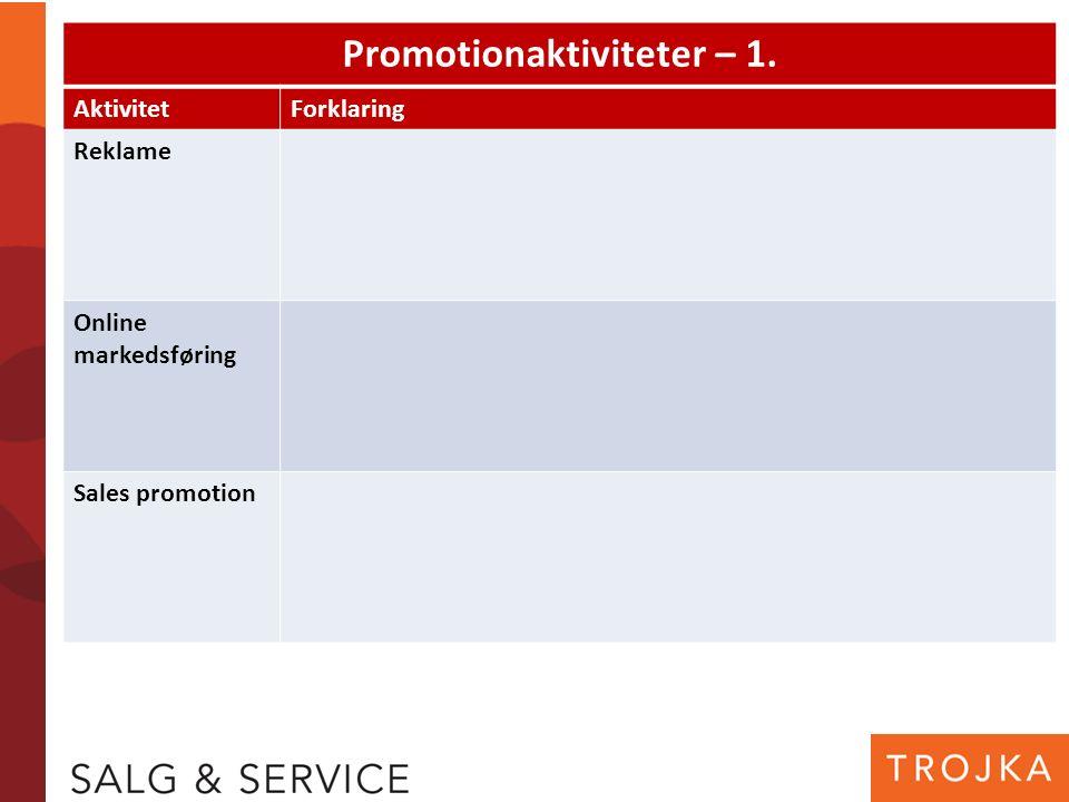Promotionaktiviteter – 1. AktivitetForklaring Reklame Online markedsføring Sales promotion