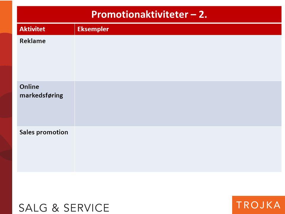 Promotionaktiviteter – 2. AktivitetEksempler Reklame Online markedsføring Sales promotion