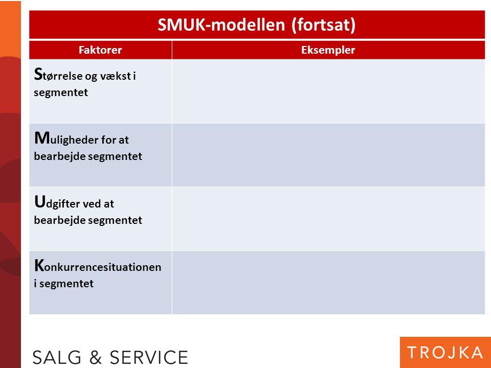 SMUK-modellen (fortsat) FaktorerEksempler S tørrelse og vækst i segmentet M uligheder for at bearbejde segmentet U dgifter ved at bearbejde segmentet K onkurrencesituationen i segmentet