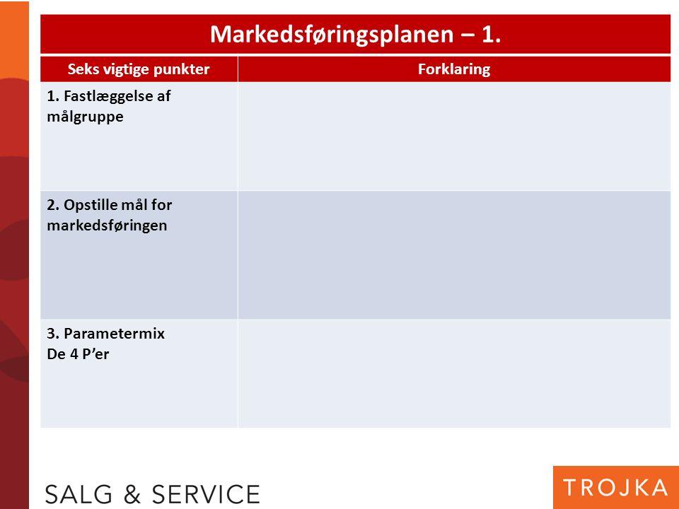Markedsføringsplanen – 1. Seks vigtige punkterForklaring 1. Fastlæggelse af målgruppe 2. Opstille mål for markedsføringen 3. Parametermix De 4 P'er