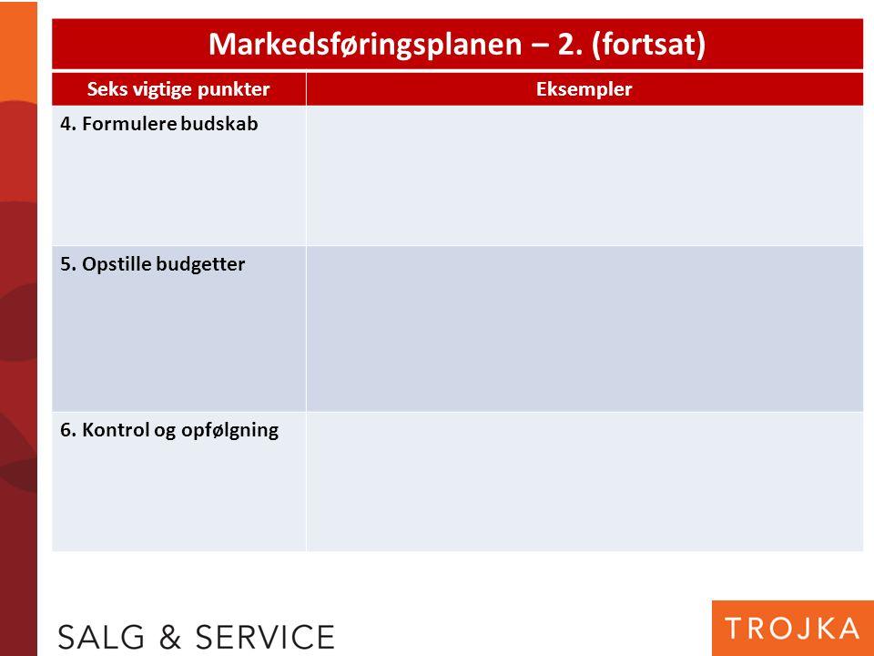Markedsføringsplanen – 2. (fortsat) Seks vigtige punkterEksempler 4. Formulere budskab 5. Opstille budgetter 6. Kontrol og opfølgning